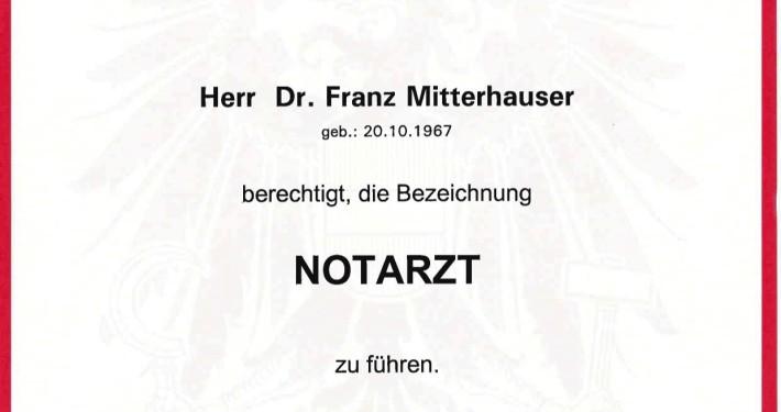 Notarztausbildung von Dr. Franz Mitterhauser