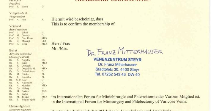 Dr. Mitterhauser in Steyr: Mitgliedszertifikat